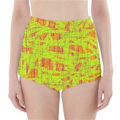 yellow and orange pattern High-Waisted Bikini Bottoms