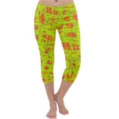 yellow and orange pattern Capri Yoga Leggings