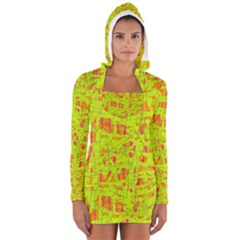 yellow and orange pattern Women s Long Sleeve Hooded T-shirt