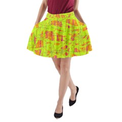 yellow and orange pattern A-Line Pocket Skirt