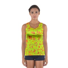 Yellow And Orange Pattern Women s Sport Tank Top