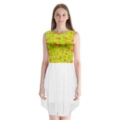 yellow and orange pattern Sleeveless Chiffon Dress