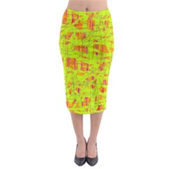 yellow and orange pattern Midi Pencil Skirt