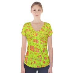 Yellow And Orange Pattern Short Sleeve Front Detail Top