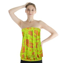 yellow and orange pattern Strapless Top