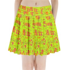 Yellow And Orange Pattern Pleated Mini Mesh Skirt