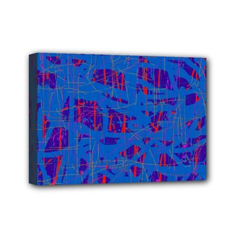 Deep blue pattern Mini Canvas 7  x 5