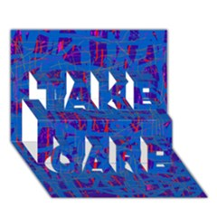 Deep blue pattern TAKE CARE 3D Greeting Card (7x5)