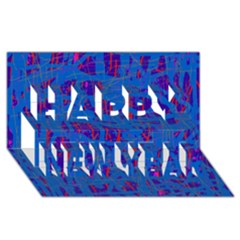 Deep blue pattern Happy New Year 3D Greeting Card (8x4)