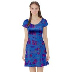Deep blue pattern Short Sleeve Skater Dress