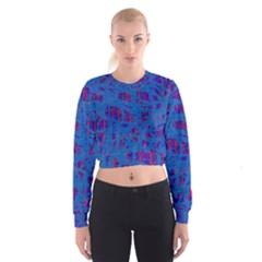 Deep blue pattern Women s Cropped Sweatshirt