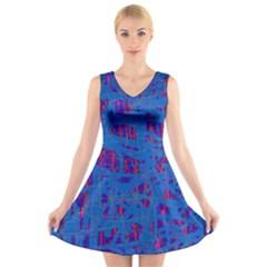 Deep blue pattern V-Neck Sleeveless Skater Dress