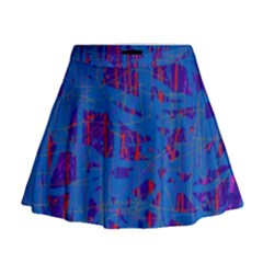 Deep blue pattern Mini Flare Skirt