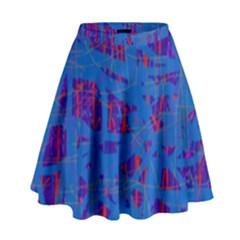 Deep blue pattern High Waist Skirt