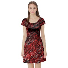 Red and black pattern Short Sleeve Skater Dress