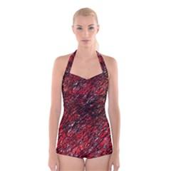 Red and black pattern Boyleg Halter Swimsuit