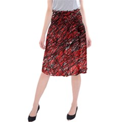 Red And Black Pattern Midi Beach Skirt