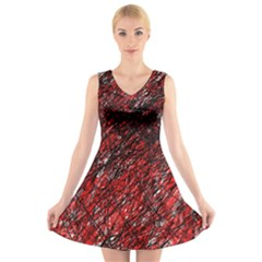 Red and black pattern V-Neck Sleeveless Skater Dress