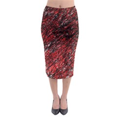 Red And Black Pattern Midi Pencil Skirt