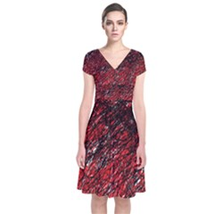 Red and black pattern Short Sleeve Front Wrap Dress