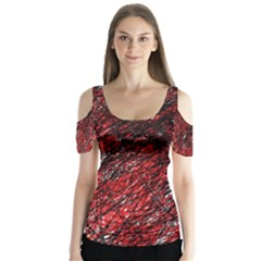 Red and black pattern Butterfly Sleeve Cutout Tee
