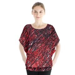 Red and black pattern Batwing Chiffon Blouse