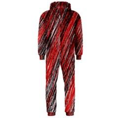 Red and black elegant pattern Hooded Jumpsuit (Men)