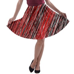 Red and black elegant pattern A-line Skater Skirt