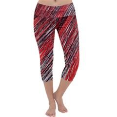 Red And Black Elegant Pattern Capri Yoga Leggings