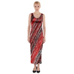 Red And Black Elegant Pattern Fitted Maxi Dress