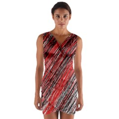 Red and black elegant pattern Wrap Front Bodycon Dress
