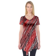 Red and black elegant pattern Short Sleeve Tunic