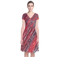 Red And Black Elegant Pattern Short Sleeve Front Wrap Dress