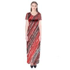 Red and black elegant pattern Short Sleeve Maxi Dress