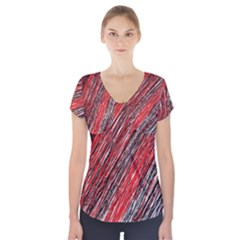 Red and black elegant pattern Short Sleeve Front Detail Top
