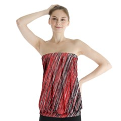 Red And Black Elegant Pattern Strapless Top