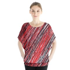 Red and black elegant pattern Batwing Chiffon Blouse