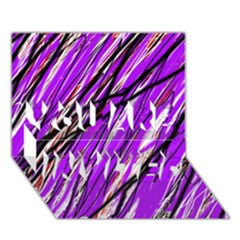 Purple pattern YOU ARE INVITED 3D Greeting Card (7x5)