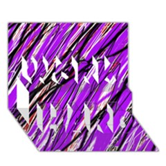 Purple pattern WORK HARD 3D Greeting Card (7x5)