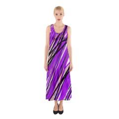 Purple Pattern Sleeveless Maxi Dress