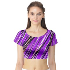 Purple pattern Short Sleeve Crop Top (Tight Fit)