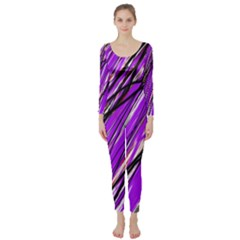 Purple pattern Long Sleeve Catsuit