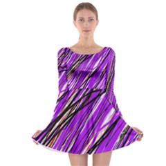 Purple pattern Long Sleeve Skater Dress