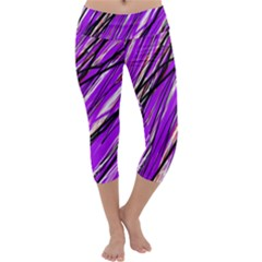 Purple pattern Capri Yoga Leggings