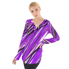 Purple pattern Women s Tie Up Tee