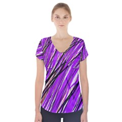 Purple pattern Short Sleeve Front Detail Top