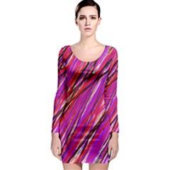 Purple pattern Long Sleeve Bodycon Dress