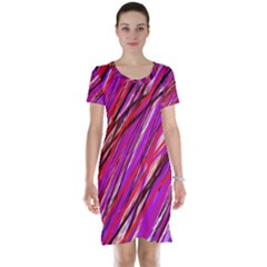 Purple pattern Short Sleeve Nightdress
