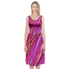 Purple Pattern Midi Sleeveless Dress