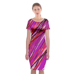 Purple Pattern Classic Short Sleeve Midi Dress
